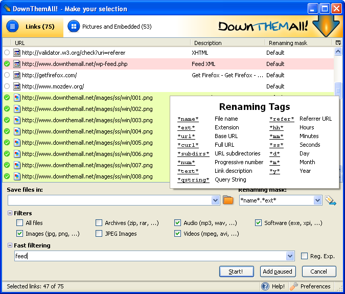 DownThemAll freeware